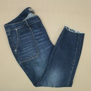 Torrid Vintage Stretch Skinny Jeans Women's Size 18 Short Button Front Fray Hem